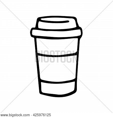 Take Away Coffee Cup Icon In Doodle Style. Vector Sign Coffee To Go. Disposable Plastic Cup, Fast Fo