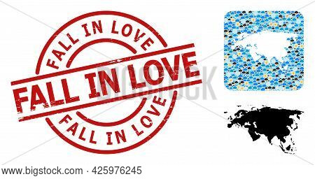 Climate Mosaic Map Of Europe And Asia, And Rubber Red Round Fall In Love Badge. Geographic Vector Mo