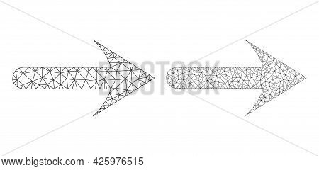 Mesh Vector Forward Arrow Icons. Mesh Carcass Forward Arrow Images In Low Poly Style With Combined T