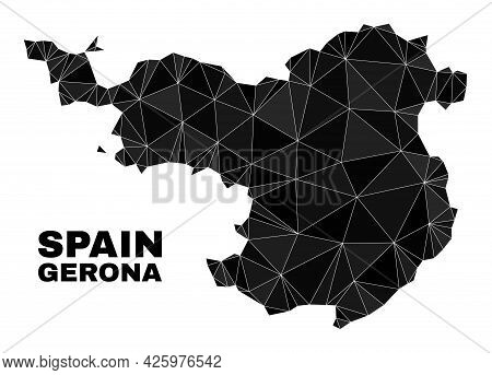 Lowpoly Gerona Province Map. Polygonal Gerona Province Map Vector Constructed With Random Triangles.