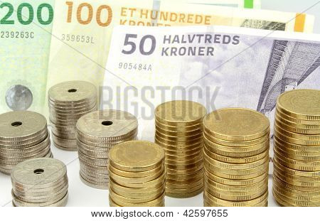 Danish Kroner, Stacked Coins And Banknotes