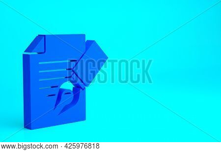Blue Exam Sheet And Pencil With Eraser Icon Isolated On Blue Background. Test Paper, Exam, Or Survey