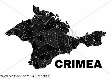 Lowpoly Crimea Map. Polygonal Crimea Map Vector Combined With Scattered Triangles. Triangulated Crim