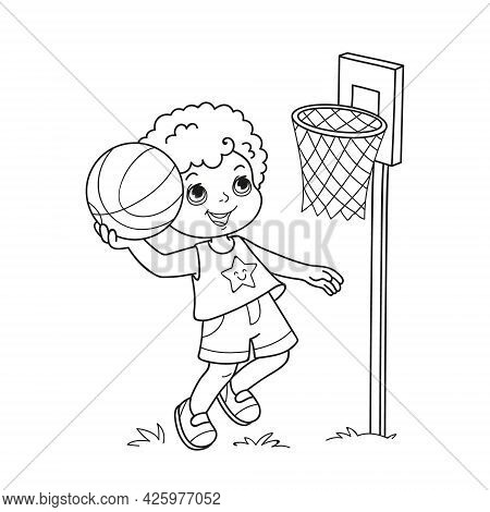 Coloring Book Basketball Player - Cute And Active Boy Holding A Basketball, In Cool Summer Clothes O