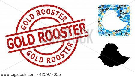Weather Mosaic Map Of Ethiopia, And Distress Red Round Gold Rooster Stamp. Geographic Vector Collage