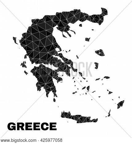 Lowpoly Greece Map. Polygonal Greece Map Vector Designed Of Random Triangles. Triangulated Greece Ma