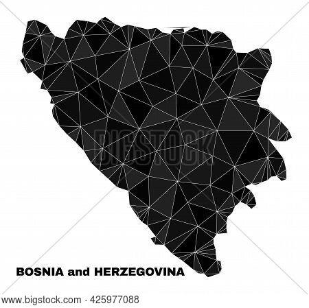 Low-poly Bosnia And Herzegovina Map. Polygonal Bosnia And Herzegovina Map Vector Constructed Of Rand