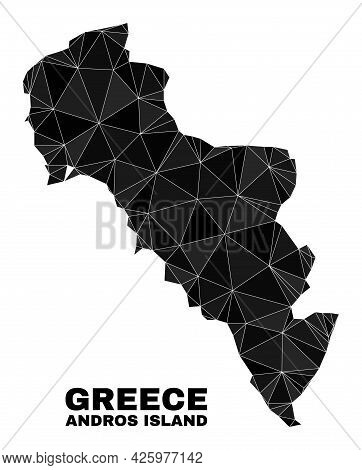 Lowpoly Andros Island Of Greece Map. Polygonal Andros Island Of Greece Map Vector Is Designed Of Sca