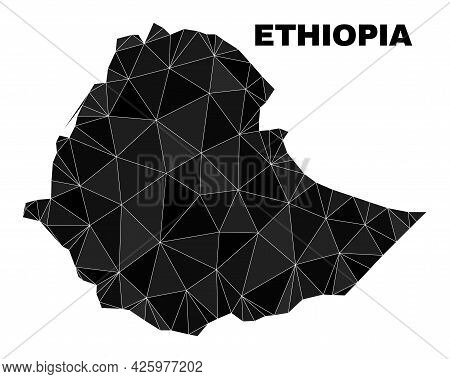 Lowpoly Ethiopia Map. Polygonal Ethiopia Map Vector Filled From Chaotic Triangles. Triangulated Ethi