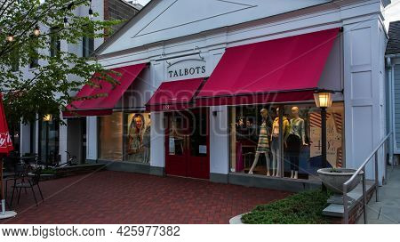 WESTPORT, CT, USA - JULY 4, 2021: Talbots store entrance view from Main Street in down town area