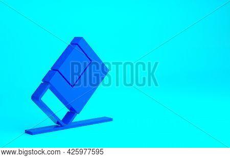Blue Eraser Or Rubber Icon Isolated On Blue Background. Minimalism Concept. 3d Illustration 3d Rende