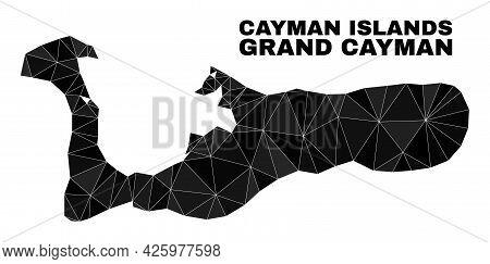 Lowpoly Grand Cayman Island Map. Polygonal Grand Cayman Island Map Vector Filled Of Random Triangles