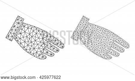 Mesh Vector Hand Palm Icons. Mesh Wireframe Hand Palm Images In Low Poly Style With Structured Trian