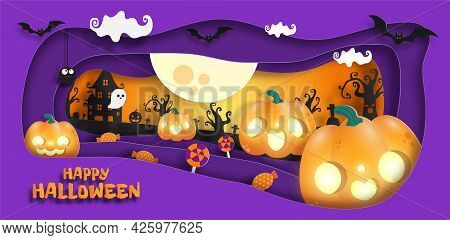 Happy Halloween Banner Paper Cut Style Background Vector Illustration, Fun Party Celebration Invitat