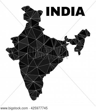 Low-poly India Map. Polygonal India Map Vector Combined Of Chaotic Triangles. Triangulated India Map