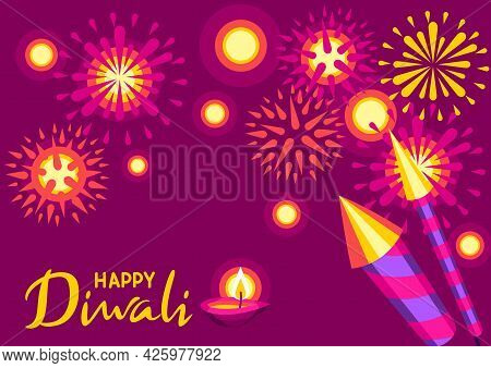 Happy Diwali Greeting Card. Deepavali Or Dipavali Festival Of Lights.