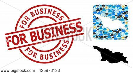 Climate Mosaic Map Of Georgia, And Rubber Red Round For Business Seal. Geographic Vector Collage Map