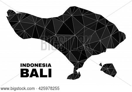 Low-poly Bali Map. Polygonal Bali Map Vector Constructed Of Scattered Triangles. Triangulated Bali M