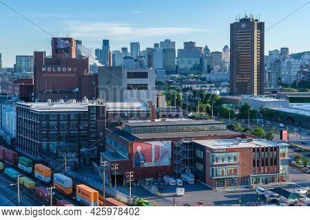 Montreal, Ca - 23 June 2021: View Of Montreal Skyline From Jacques Cartier Bridge At Sunset