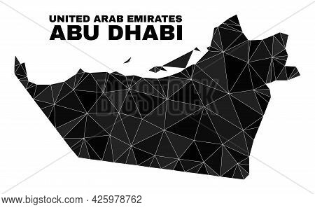 Low-poly Abu Dhabi Emirate Map. Polygonal Abu Dhabi Emirate Map Vector Is Combined With Random Trian