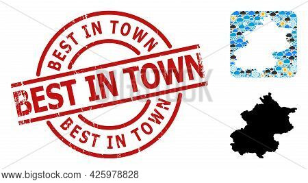 Weather Mosaic Map Of Beijing Municipality, And Grunge Red Round Best In Town Badge.