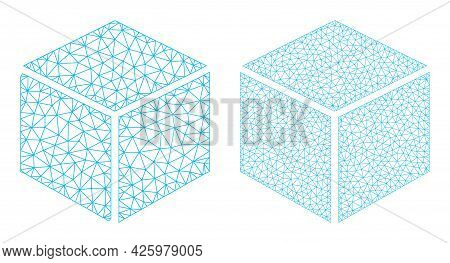 Mesh Vector Sugar Cube Icons. Mesh Wireframe Sugar Cube Images In Low Poly Style With Combined Trian