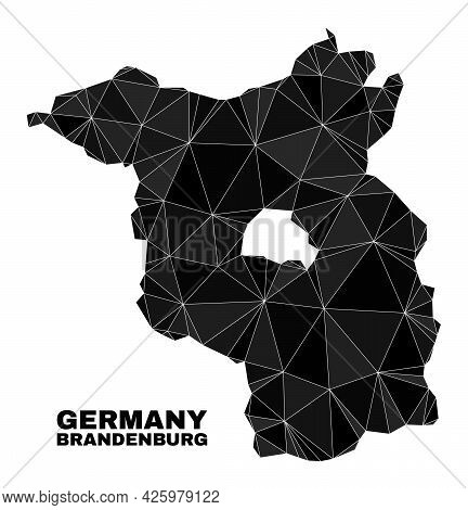 Low-poly Brandenburg Land Map. Polygonal Brandenburg Land Map Vector Is Filled With Random Triangles