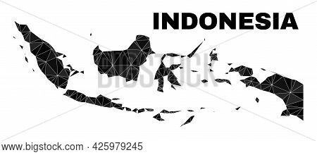 Lowpoly Indonesia Map. Polygonal Indonesia Map Vector Is Constructed Of Chaotic Triangles. Triangula