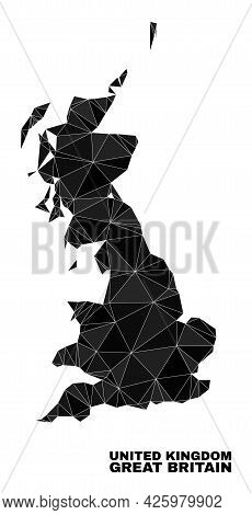Low-poly Great Britain Map. Polygonal Great Britain Map Vector Combined From Chaotic Triangles. Tria