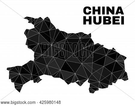 Low-poly Hubei Province Map. Polygonal Hubei Province Map Vector Is Constructed With Chaotic Triangl
