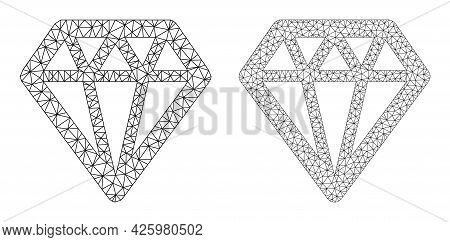 Mesh Vector Diamond Icons. Mesh Wireframe Diamond Images In Low Poly Style With Connected Triangles,