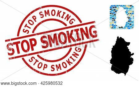 Climate Collage Map Of Lugo Province, And Distress Red Round Stop Smoking Badge. Geographic Vector C
