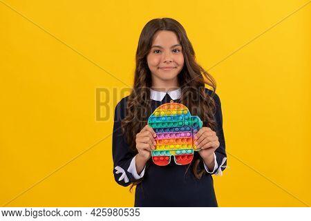 Smiling Kid Popping Anti Stress Bubble. Motor Skills. Pop It Fun.