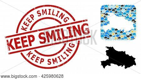 Weather Collage Map Of Hubei Province, And Grunge Red Round Keep Smiling Stamp. Geographic Vector Co