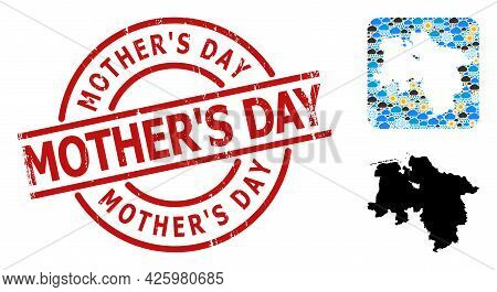 Weather Mosaic Map Of Lower Saxony State, And Grunge Red Round Mothers Day Badge. Geographic Vector