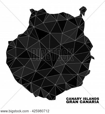 Lowpoly Gran Canaria Map. Polygonal Gran Canaria Map Vector Is Filled With Chaotic Triangles. Triang