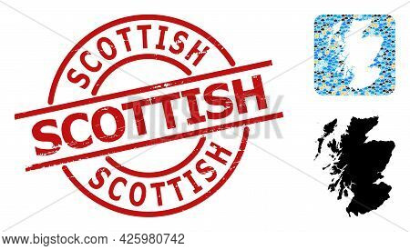 Climate Collage Map Of Scotland, And Distress Red Round Scottish Seal. Geographic Vector Collage Map