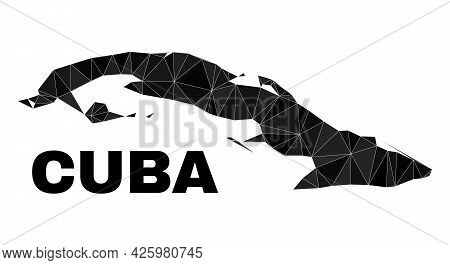 Lowpoly Cuba Map. Polygonal Cuba Map Vector Is Constructed With Chaotic Triangles. Triangulated Cuba