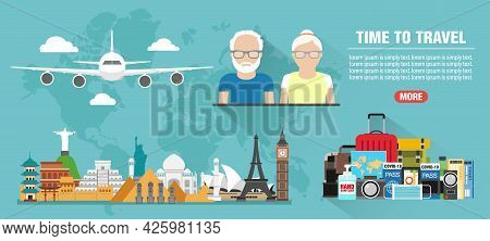Around The World. Time To Travel Old People Concept Design Flat Banner. Travel Icon. Safe Journey. V