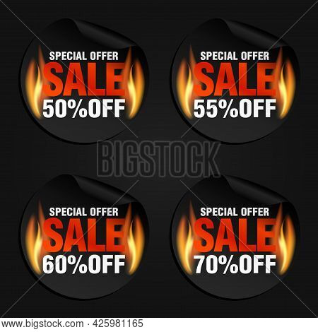 Special Offer, Sale Black Stickers Set With Flame Fire 50%, 55%, 60%, 70% Off. Vector Illustration