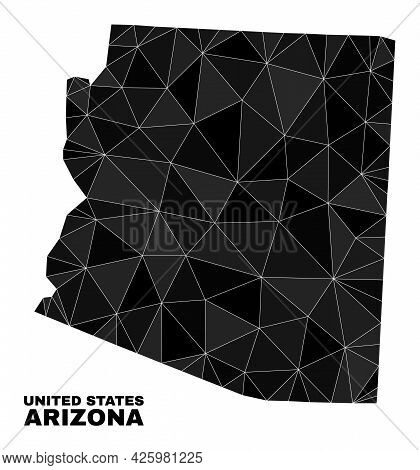 Low-poly Arizona State Map. Polygonal Arizona State Map Vector Is Designed With Chaotic Triangles. T