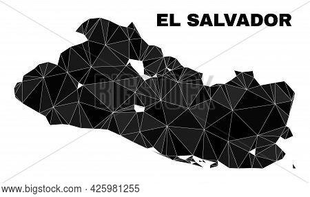 Lowpoly El Salvador Map. Polygonal El Salvador Map Vector Is Constructed Of Random Triangles. Triang