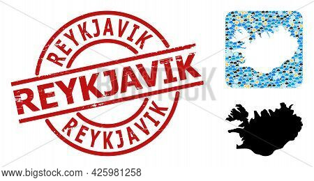 Climate Collage Map Of Iceland, And Grunge Red Round Reykjavik Badge. Geographic Vector Collage Map