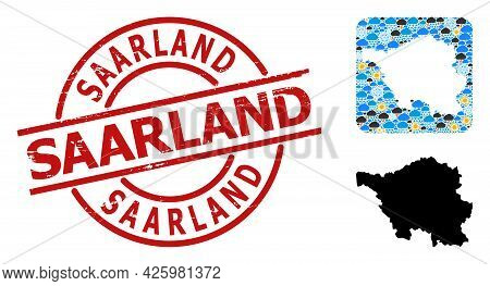 Weather Collage Map Of Saarland State, And Textured Red Round Saarland Stamp. Geographic Vector Coll