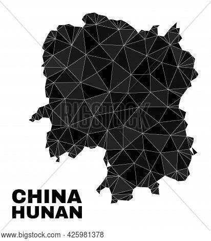 Lowpoly Hunan Province Map. Polygonal Hunan Province Map Vector Filled Of Random Triangles. Triangul