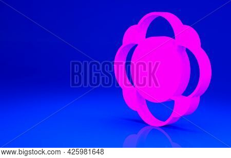Pink Molecule Icon Isolated On Blue Background. Structure Of Molecules In Chemistry, Science Teacher