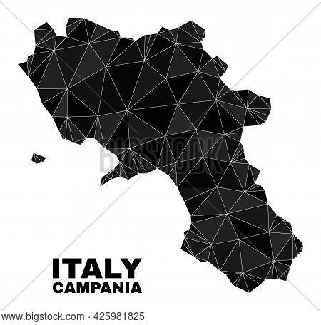 Lowpoly Campania Region Map. Polygonal Campania Region Map Vector Filled Of Random Triangles. Triang