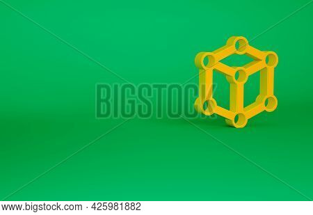 Orange Molecule Icon Isolated On Green Background. Structure Of Molecules In Chemistry, Science Teac