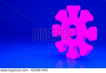 Pink Bacteria Icon Isolated On Blue Background. Bacteria And Germs, Microorganism Disease Causing, C