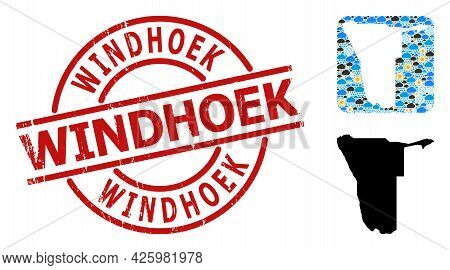 Climate Pattern Map Of Namibia, And Grunge Red Round Windhoek Badge. Geographic Vector Concept Map O